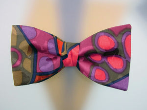Hand Painted Men's Silk Bow Tie. Purple, pink, burgundyi, navy and tobacco colors.