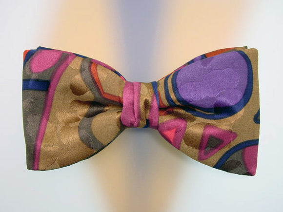 Hand Painted Men's Silk Bow Tie. One-of-a-Kind Bowtie.