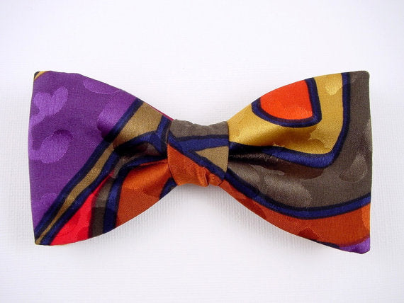 Hand Painted Men's Silk Bow Tie. Unique Bowtie.