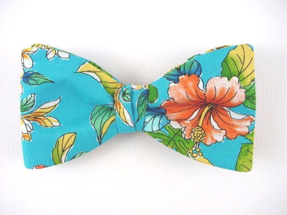 Orange Hibiscus Bow Tie. Turquoise Blue Bow Tie. Self Tie Bowtie.