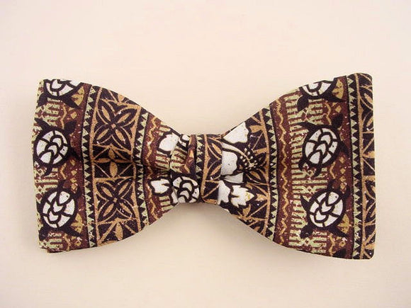 Sea Turtle Bow Tie for Men. Brown  Hawaiian Bow Tie.