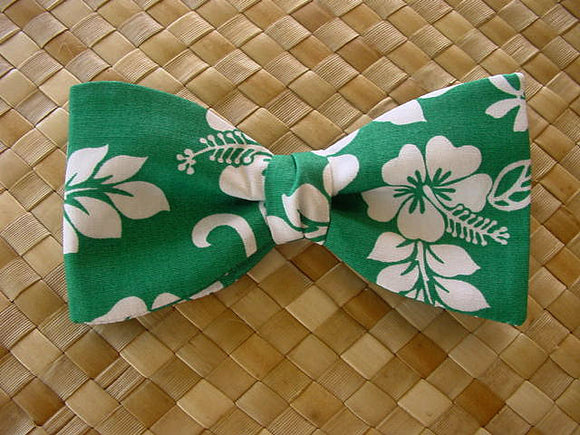 White Hibiscus on green men's bow tie.