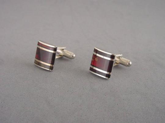 Baltic Amber Cufflinks and Sterling Silver. Natural Amber.