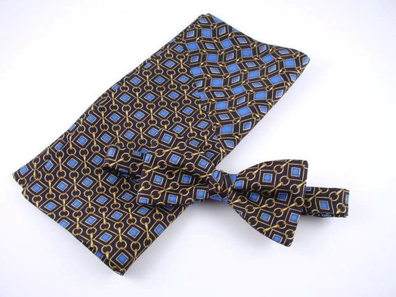 Luxury Men's Gift Set of Bow Tie and Pocket Square.