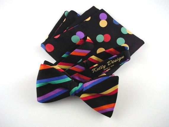 Striped Silk Bow Tie and Dot Pocket Square Men's Set.