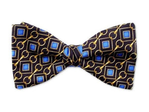 Small blue patterns on black. Pure silk twill men's bow tie.