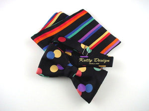 Multicolor Dot on Black Bow Tie and Matcing Stripes on Black and Mathching Stripes Pocket Square Set. Luxury Men's Gift.