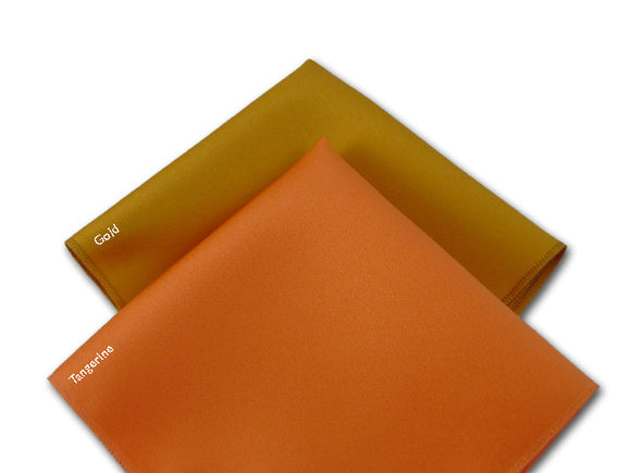 Solid Gold pocket square. Solid Tangerine pocket square.