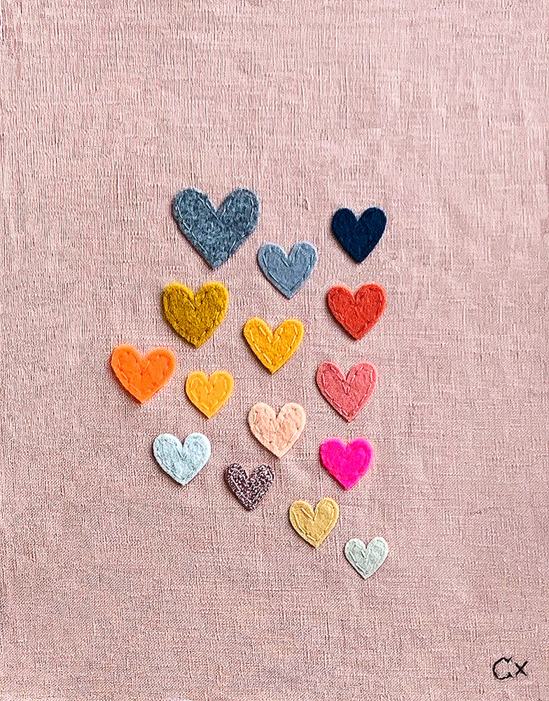 15 Pink Hearts Embroidery by Castle. 250mm w x 320mm h