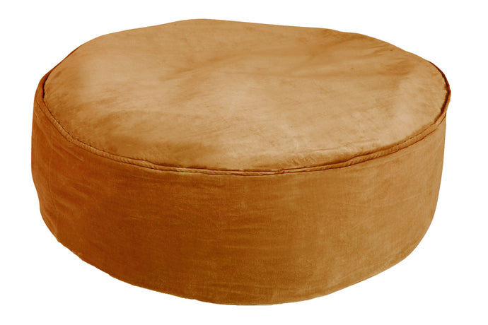 Butterscotch Velvet Floor Cushion by Castle. 80cm diameter