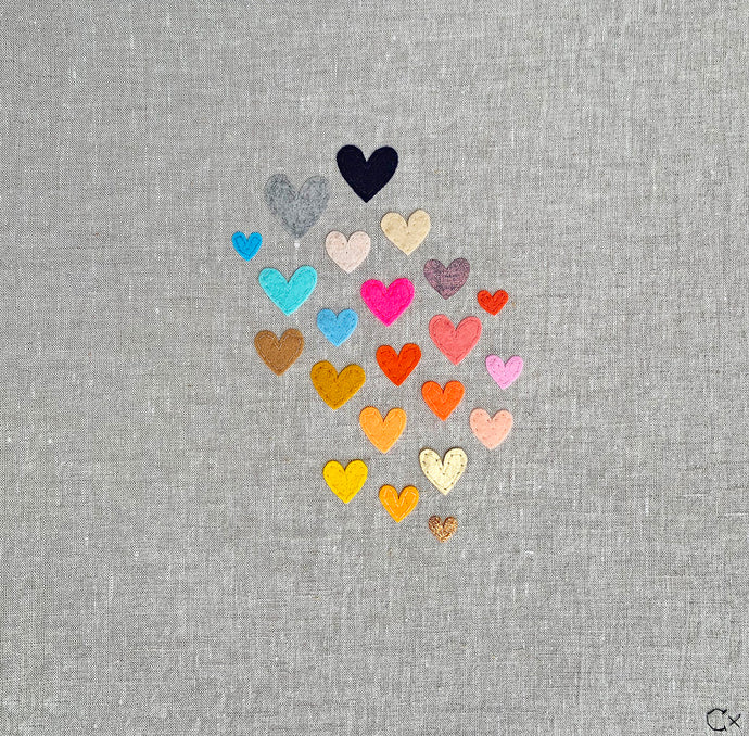 22 Rainbow Hearts Embroidery by Rachel Castle. 430mm w x 430mm h