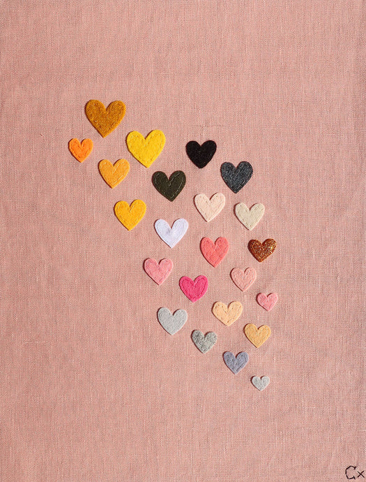 23 Pink Hearts Embroidery by Rachel Castle. 340mm w x 420mm h