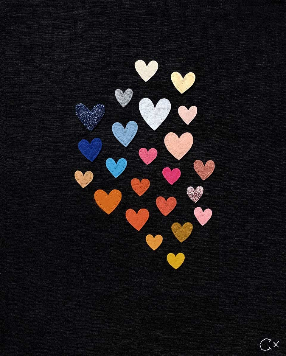 23 Rainbow Hearts Embroidery by Rachel Castle. 330mm w x 400mm h