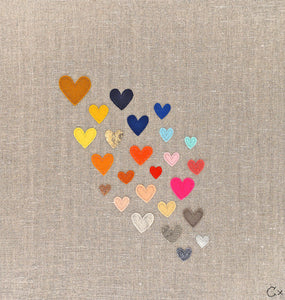23 Rainbow Hearts Embroidery by Rachel Castle. 390mm w x 420mm h