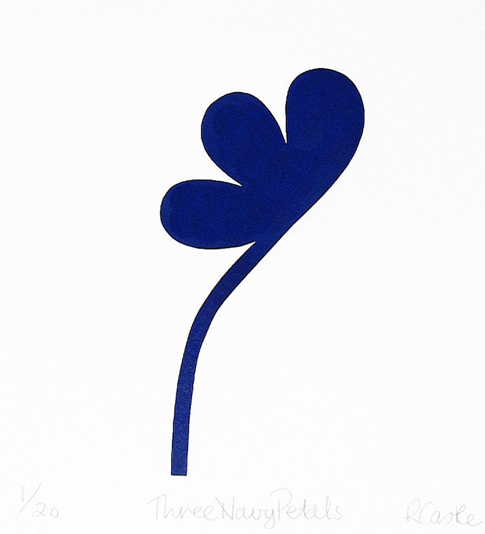 3 Navy Petal Print by Rachel Castle. 250mm w x 275mm h