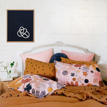 AW 18 Range by Castle. Botanical Velvet Pillowcases and Butterscotch Spot Linen Pillowcase and Sheets on Styled Bed