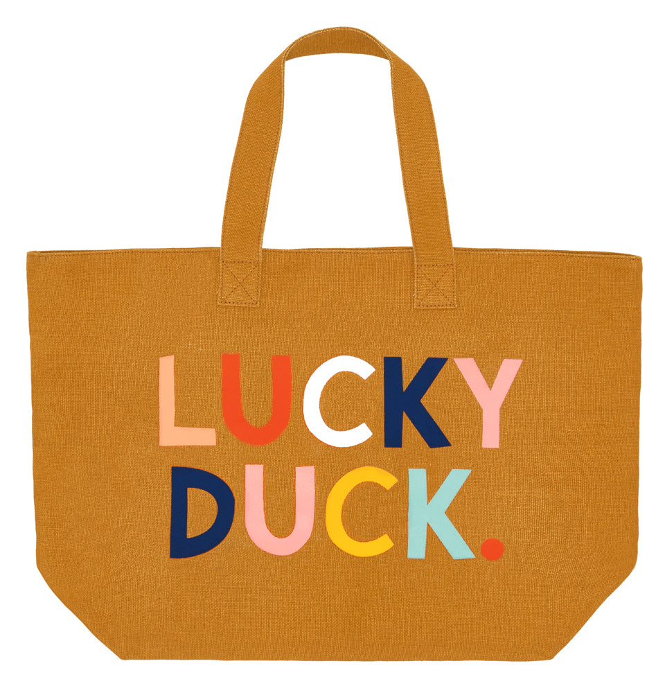 Lucky Duck Tote Bag by Castle. 7 Coloured Printed Text on Butterscotch Tote Bag