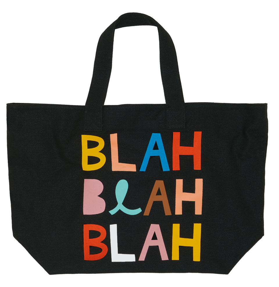 Blah Tote Bag by Castle. 8 Colour Printed Type Design on Black Tote Bag