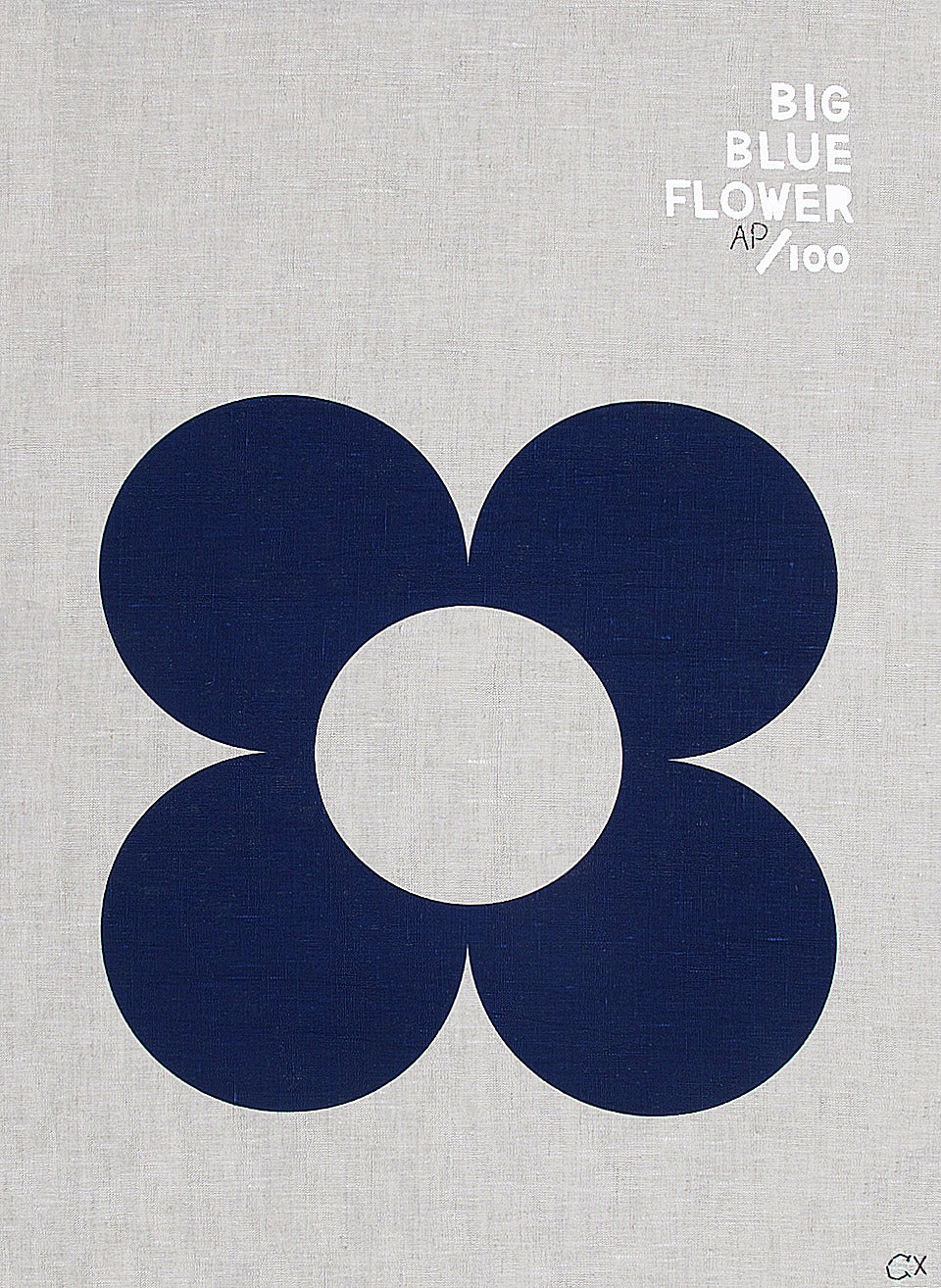 BIG BLUE FLOWER ART TEATOWEL
