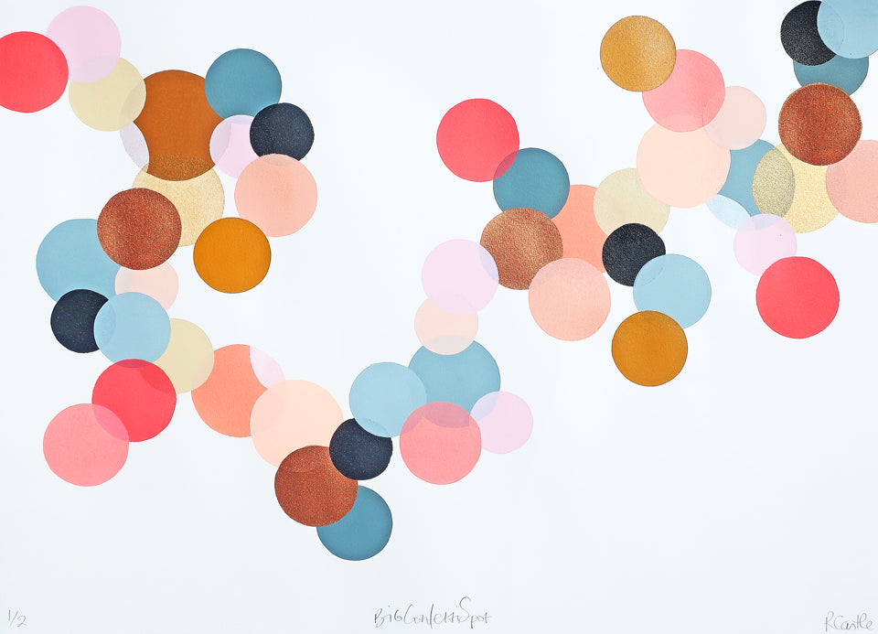 Blush Confetti Spot Print by Rachel Castle. 750mm w x 500mm h