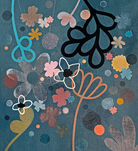 Big Midnight Garden painting by Rachel Castle. 960mm w x 1000mm h