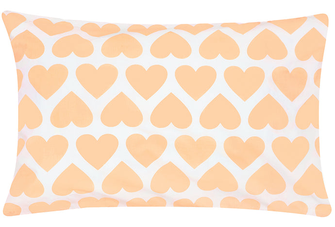 Big Peach Heart Pillowcase by Castle. 50 x 75cm