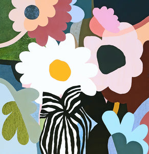 Big Posy painting by Rachel Castle. 1220mm w x 1250mm h