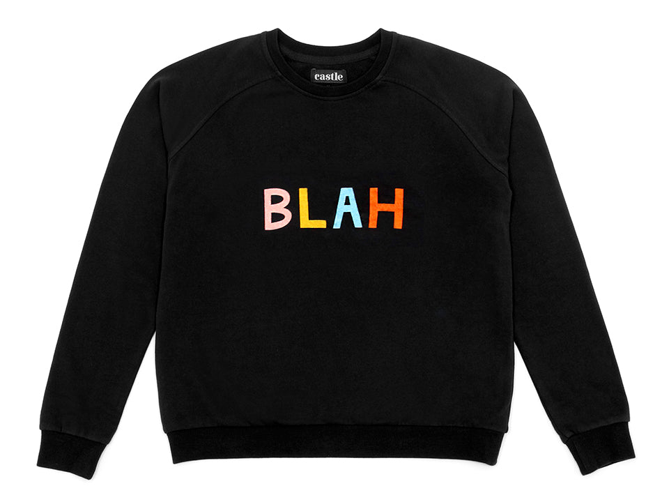 Blah Sweater by Castle. 4 Coloured Letter Print on Black Sweatshirt