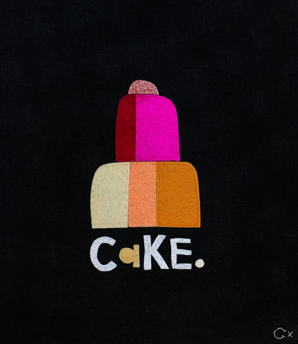 Cake Embroidery by Rachel Castle. 330mm w x 370mm h
