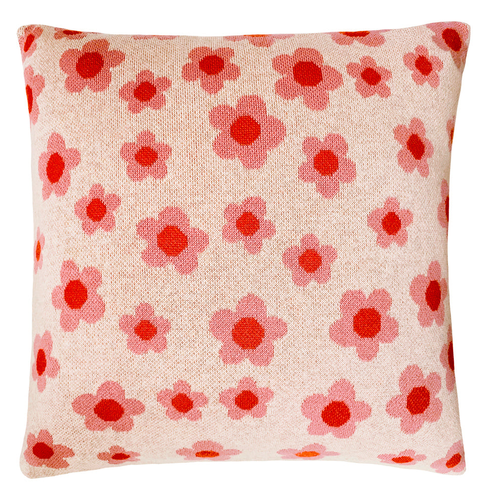 Daisy Chain Knit Cushion Cover by Castle. Front design