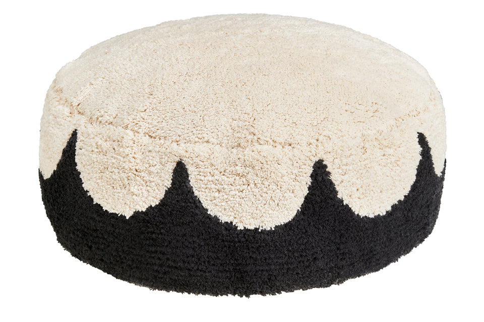 BLACK SCALLOP FLOOR CUSHION