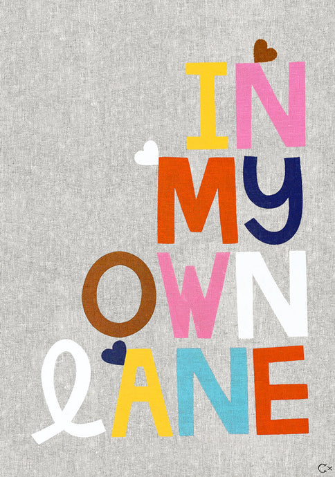 IN MY OWN LANE ART TEATOWEL