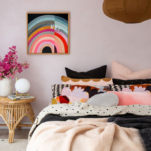 HEY 2 Artwork by Castle. Blush Linen Range. Harlequin Velvet Pillowcase. Licorice Allsort Bumble Blanket, Natural Spot Linen Fitted Sheet