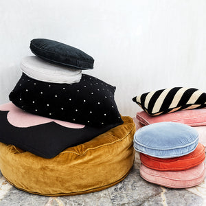 Velvet Cushion Stack by Castle. Penny Round Cushion Covers. Velvet Floor Cushion. Stripe Lumbar