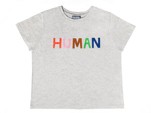 Human Tshirt by Castle. 5 Coloured Letter Print on Grey Marle Tshirt