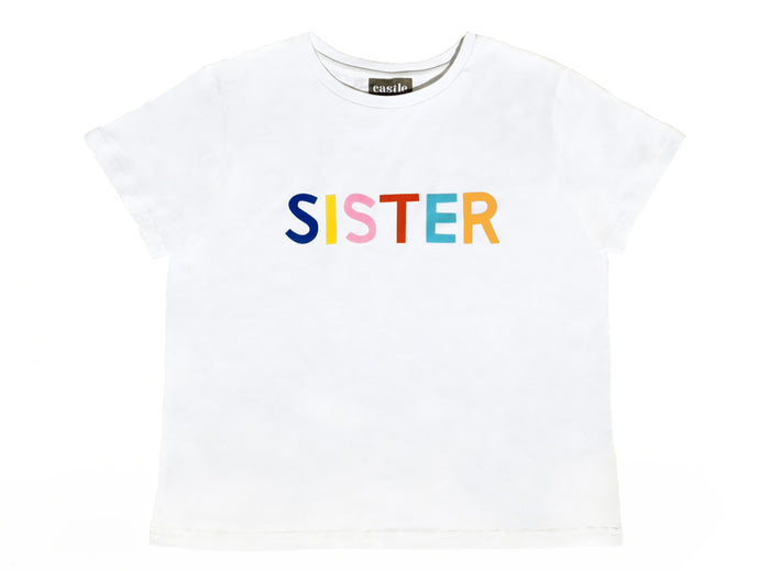 Sister Tshirt by Castle. 6 Coloured Letter Print on White Tshirt