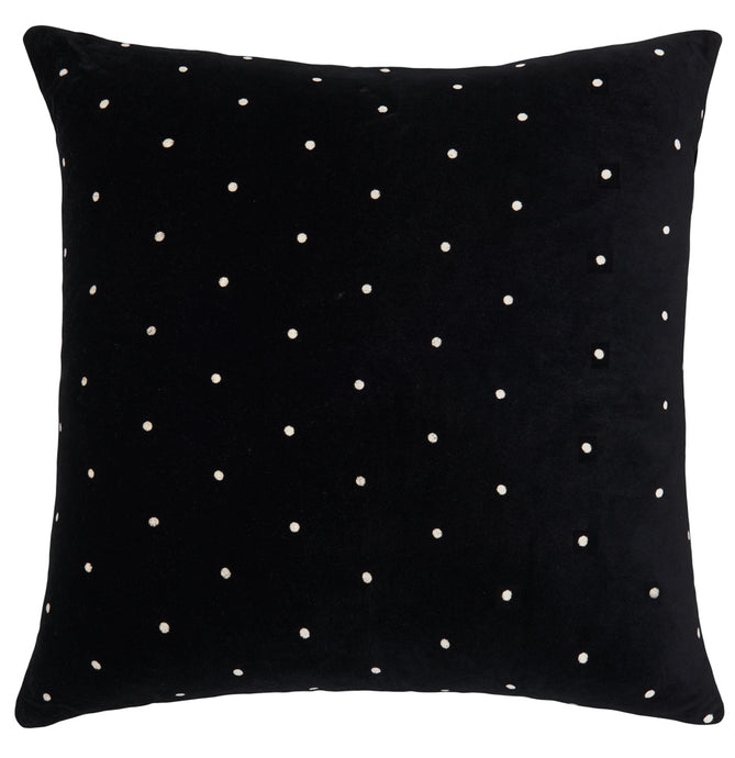 Black Pin Spot Velvet European Pillowcase. 65 x 65cm