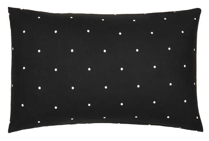 Licorice Linen Pinspot Pillowcases by Castle. Licorice Linen. Printed Eggshell Pinspot. 50 x 75cm