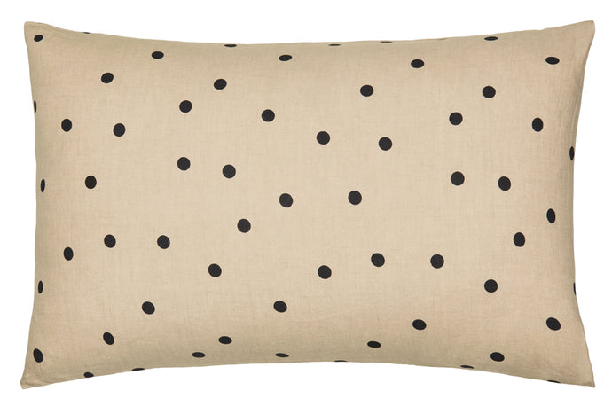 Natural Spot Linen Pillowcase by Castle. Natural Linen with Black Spots. 50 x 75cm