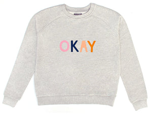 Okay Sweater by Castle. 4 Coloured Letter Printed on Grey Sweatshirt