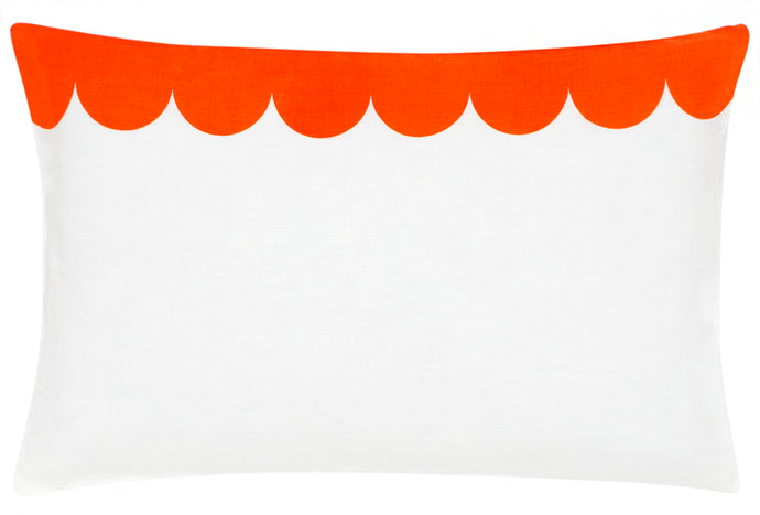 Orange Scallop Linen Pillowcase by Castle. White Linen Printed with Orange Scallop Design. 50 x 75cm