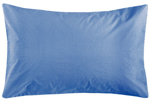 Cobalt Stripe Pillowcase by Castle. Cobalt and White Thin Diagonal Stripes. 50 x 75cm
