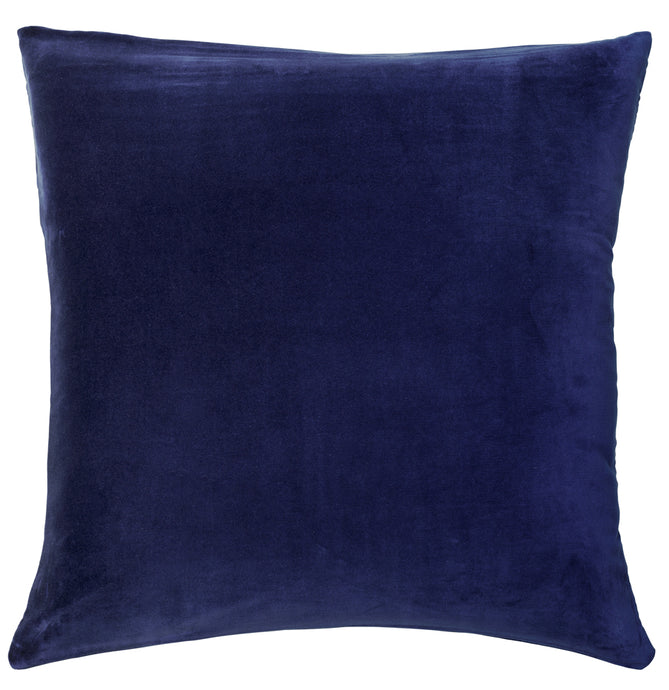 Navy Velvet European Pillowcase by Castle. 65 x 65cm