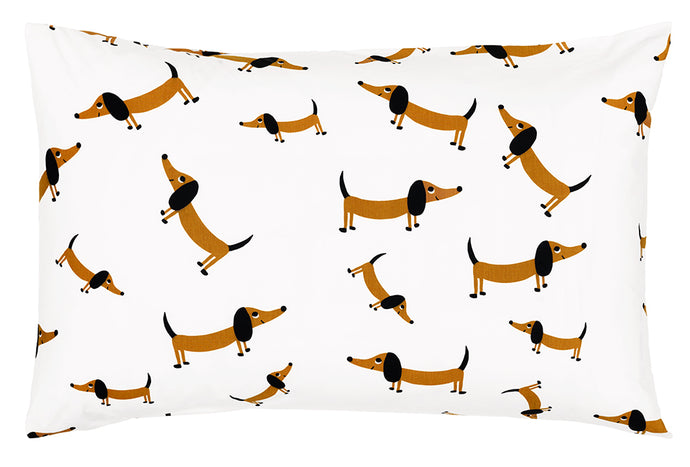 Sausage Dog Cotton Pillowcase by Castle. Printed Sausage Dog Print. Butterscotch and Black Eared Sausage Dog 50 x 75cm