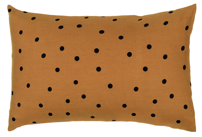 Butterscotch Spot Linen Pillowcase by Castle. Butterscotch Linen printed with Black Spots. 50 x 75cm