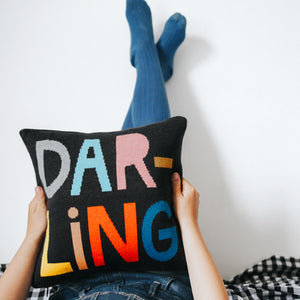 Darling Mini Cushion Cover by Castle. Girl with blue tights