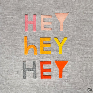 Little Hey Hey Hey Embroidery by Rachel Castle. 400mm w x 400mm h
