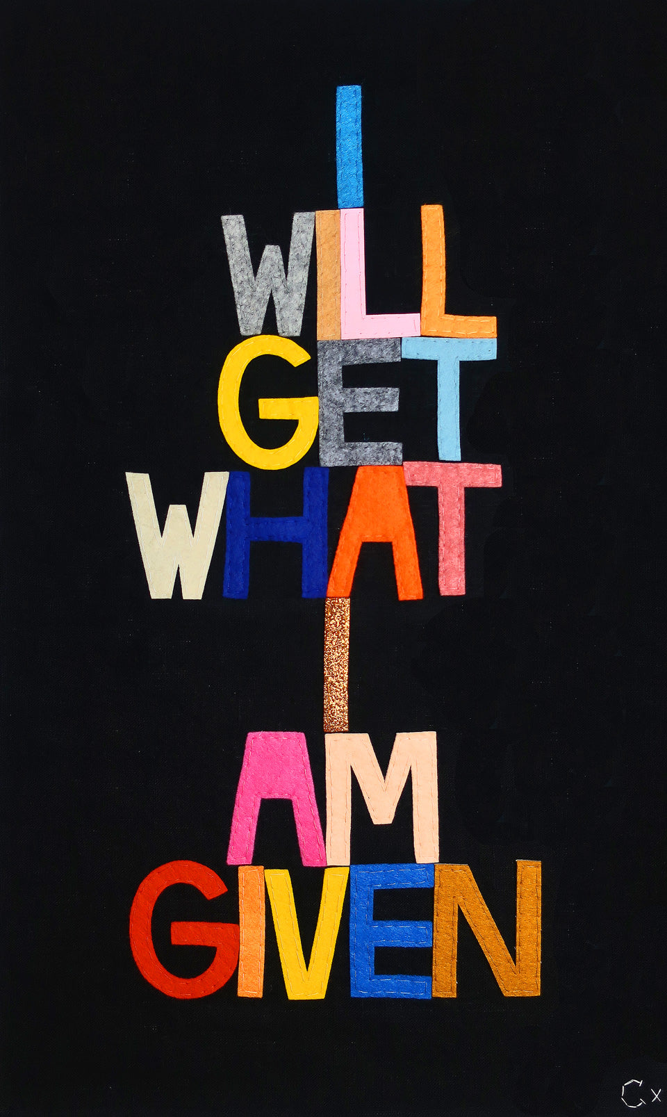 I Will Get What I Am Given Embroidery by Rachel Castle. 360mm w x 610mm h