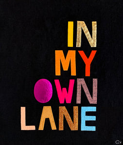 In My Own Lane Embroidery by Rachel Castle. 350mm w x 410mm h