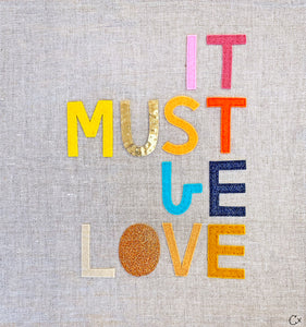 It Must be Love Embroidery by Rachel Castle. 430mm w x 430mm h